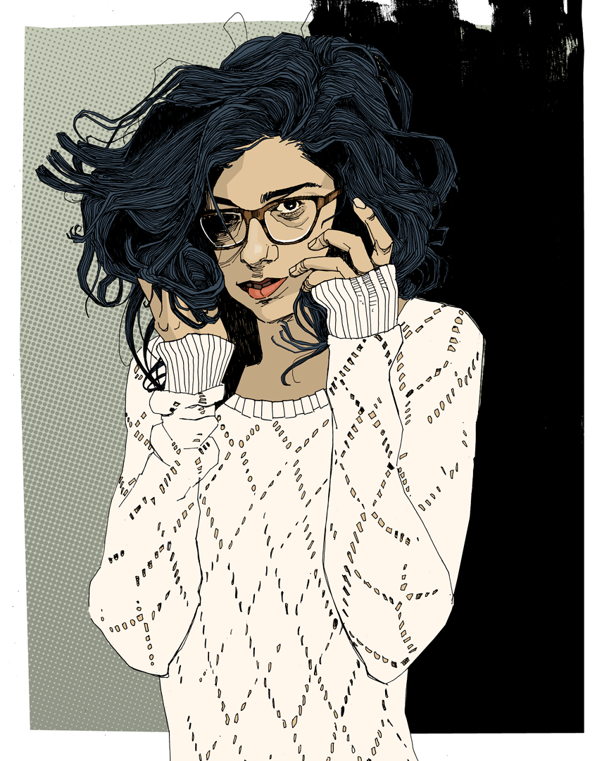 drawing girl with glasses