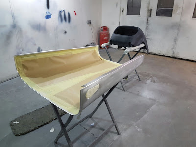 bonnet and nose cone sanded, prepped and masked for the 2k high build to be applied