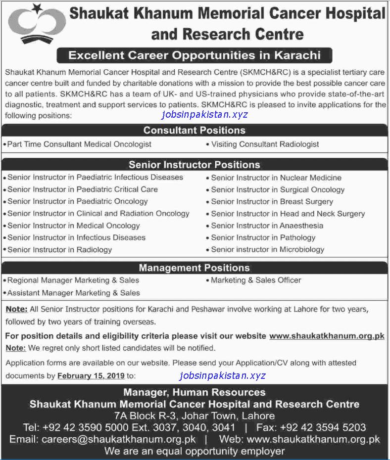 Advertisement for Shaukat Khanum Memorial Hospital Jobs