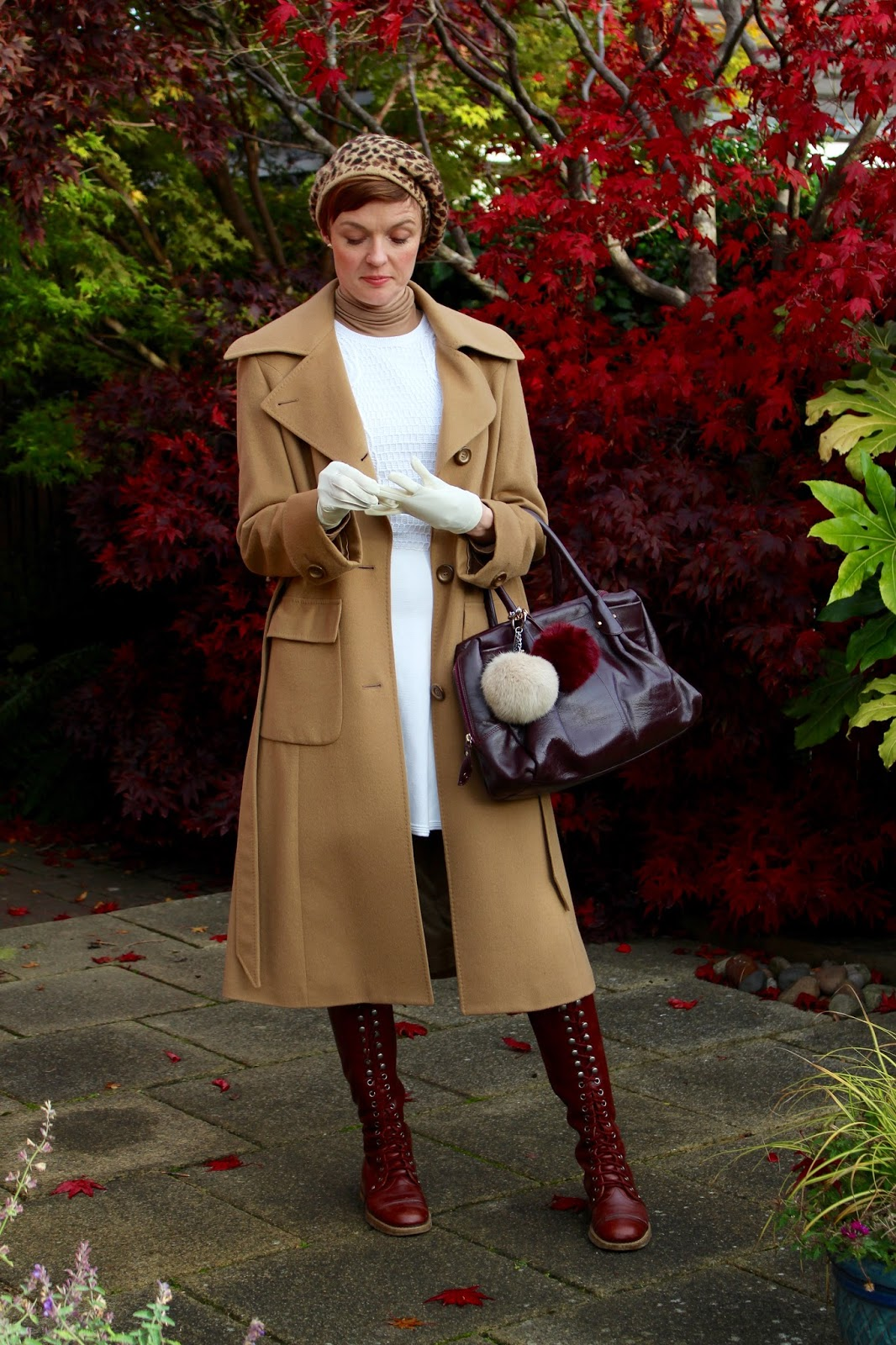 Camel coat and lace up boots | Fake fabulous