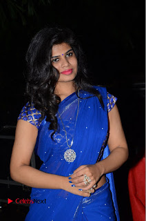 Actress Alekhya Pictures in Blue Saree at Happy Birthday Audio Launch  0005