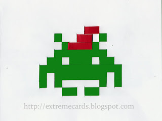 8 bit woven space invader Christmas card