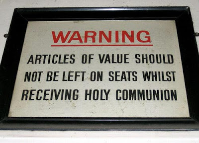 Funny Signs Communion Warning