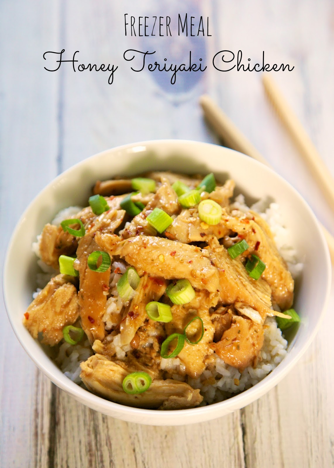 {Freezer Meal} Honey Teriyaki Chicken - chicken, honey teriyaki sauce, garlic, basil, rosemary, chicken broth and brown sugar - throw everything in a freezer bag and freeze until ready to cook. Can cook frozen. SO easy and super delicious. Serve over rice for a complete meal!