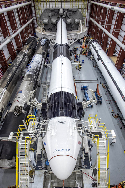 The completed Falcon 9 Demo-2 rocket prior to it being rolled from the Horizontal Integration Facility to the launch pad at LC-39A...on May 20, 2020.