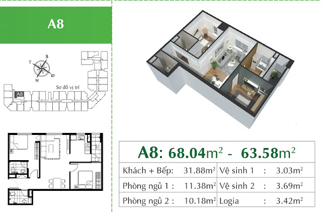 Thiết kế căn A8 Eco city Long Biên