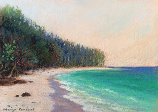 Soft pastel painting of a seashore from Bamboo island. By Manju Panchal