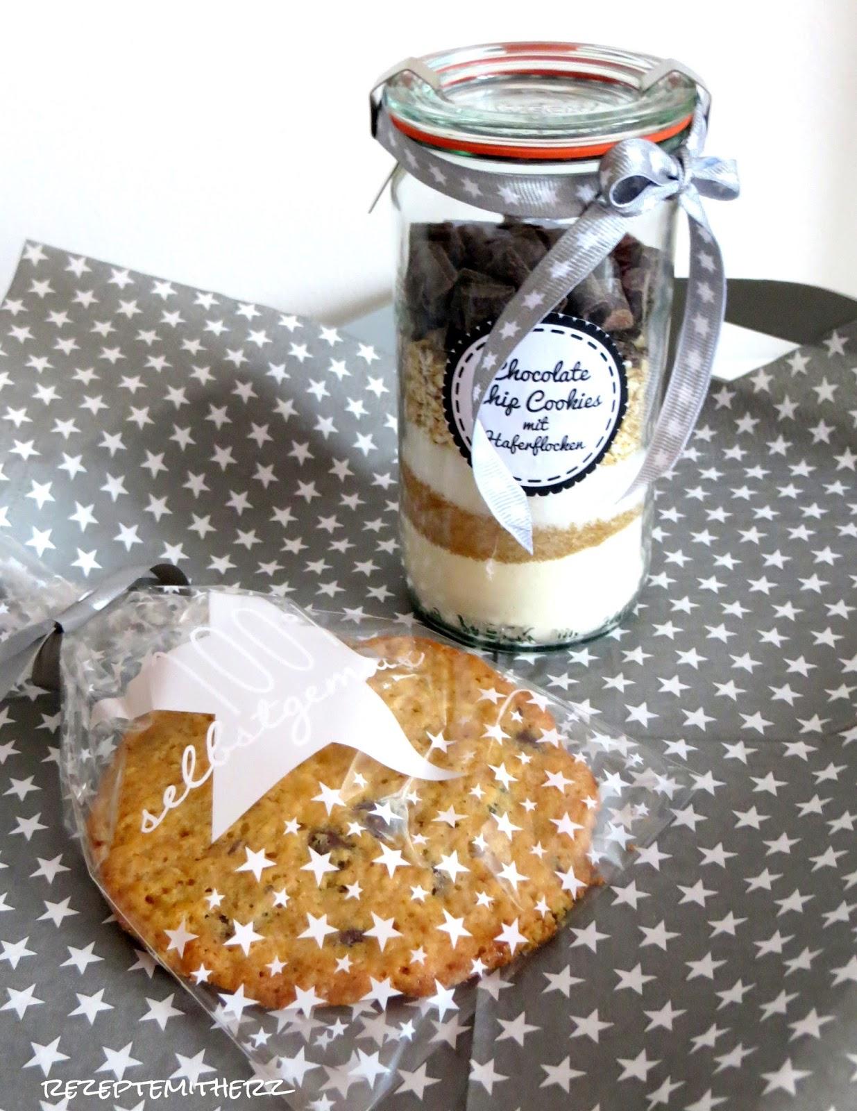 Frisch Backmischung im Glas : Chocolate Chip Cookies mit Haferflocken ♡ OX73