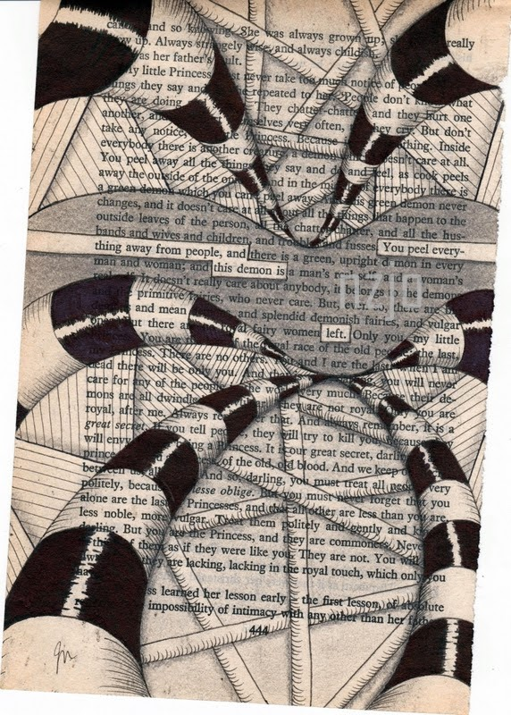 05-The-Devil-Jo-Newsham-Zentangle-Drawings-on-Recycled-Vintage-Book-Pages-www-designstack-co