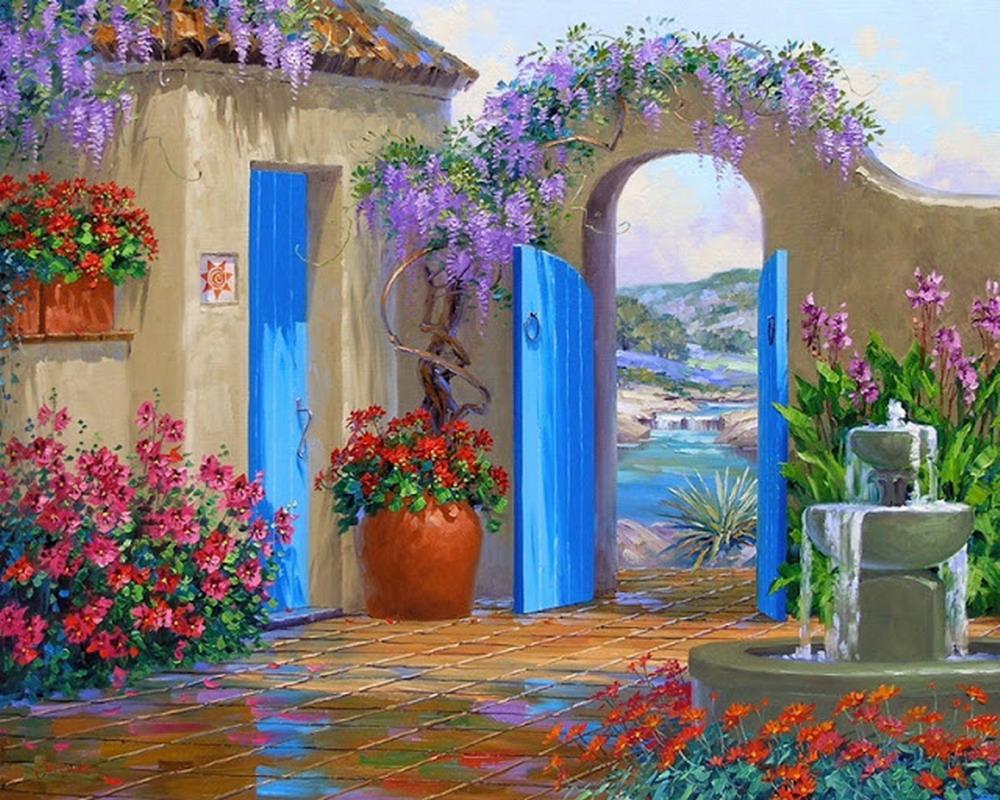Im genes arte pinturas paisajes floridos de la primavera Cuadros para el jardin