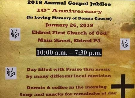 1-26 10th Annual Gospel Jubilee at the Eldred First Church of God
