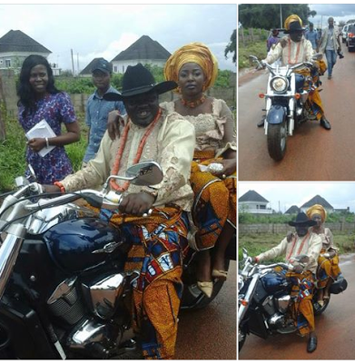 Nigerian commissioner riding a motorcycle with his wife (Photos)