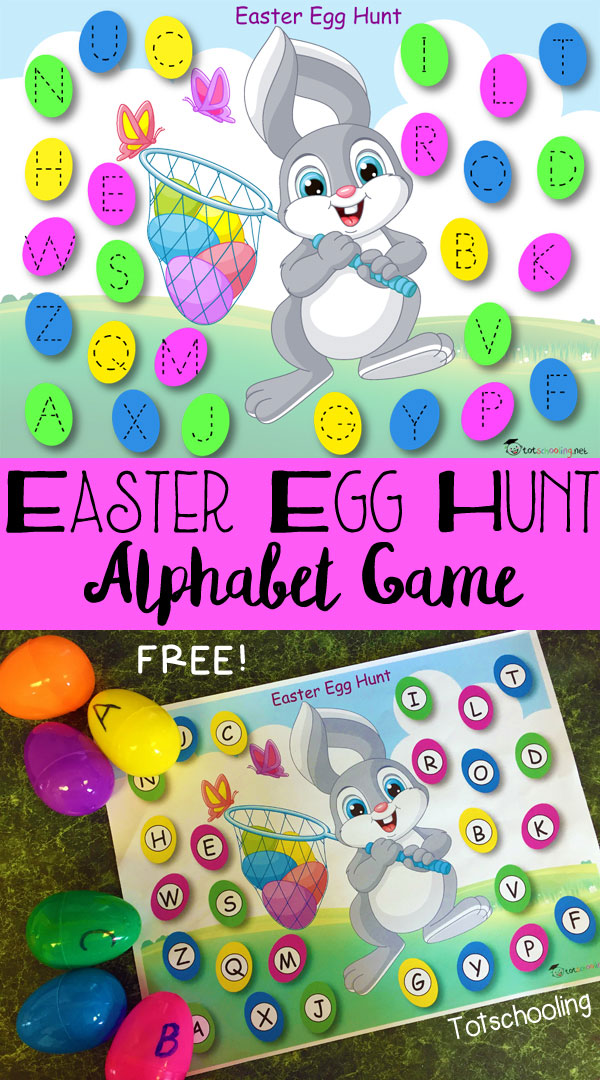 FREE printable Easter Egg Hunt alphabet game with letter tracing, do-a-dots and ideas for more alphabet learning! Great for preschoolers practicing letter recognition and handwriting.