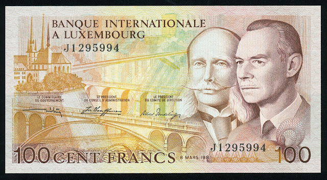 Luxembourg banknotes paper money 100 Francs banknote