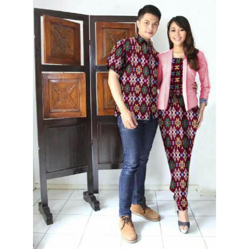 Jual Online Arini Long Maroon Jakarta Bahan Batik Rayon Songket Terbaru