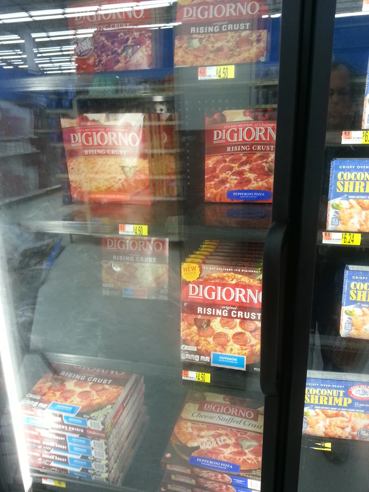 End cap of Digiorno Pizza for $4.50 rollback prices at Walmart