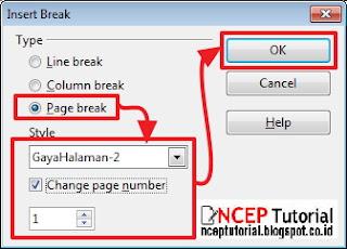 cara manual insert break open office