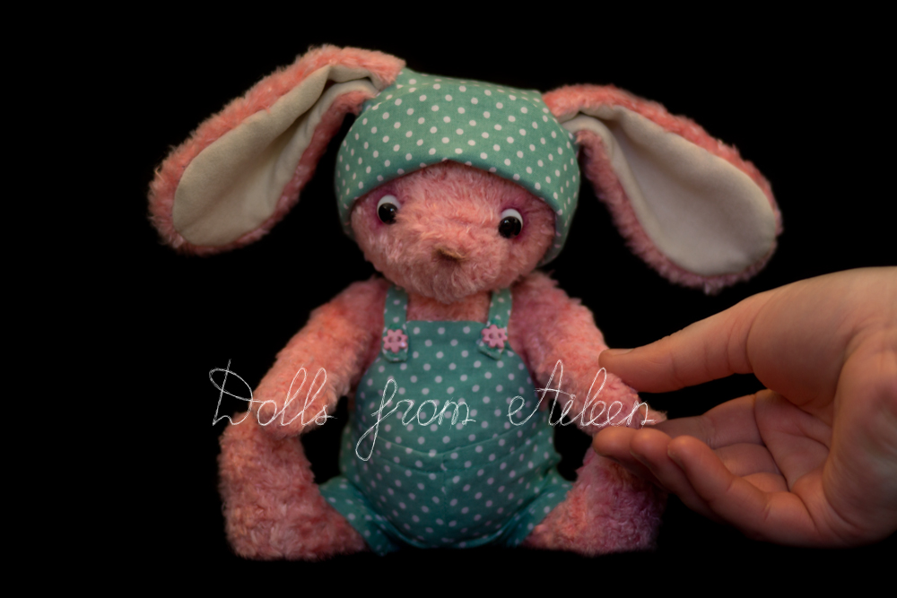 ooak artist teddy bunny rabbit with human hand