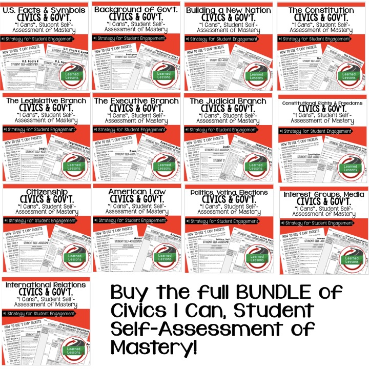 Civics And Government I Cans SelfAssessment Of Mastery Bundle