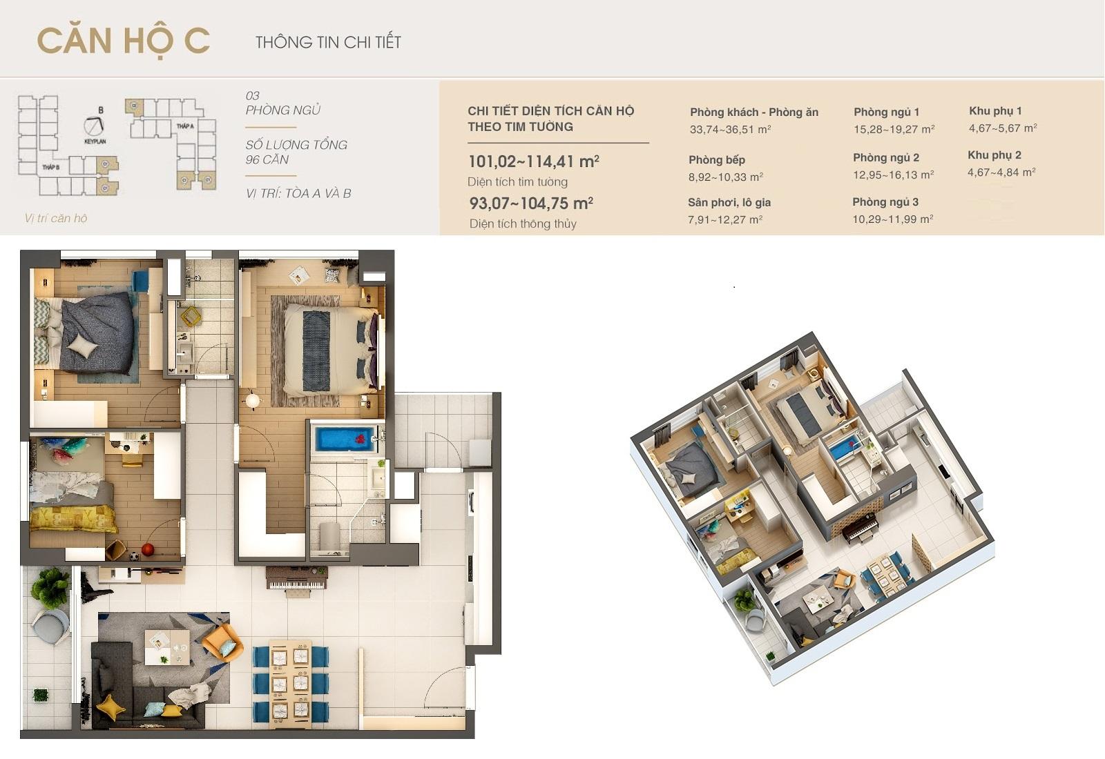 Thiết kế căn hộ C dự án Dlc complex nguyễn tuân