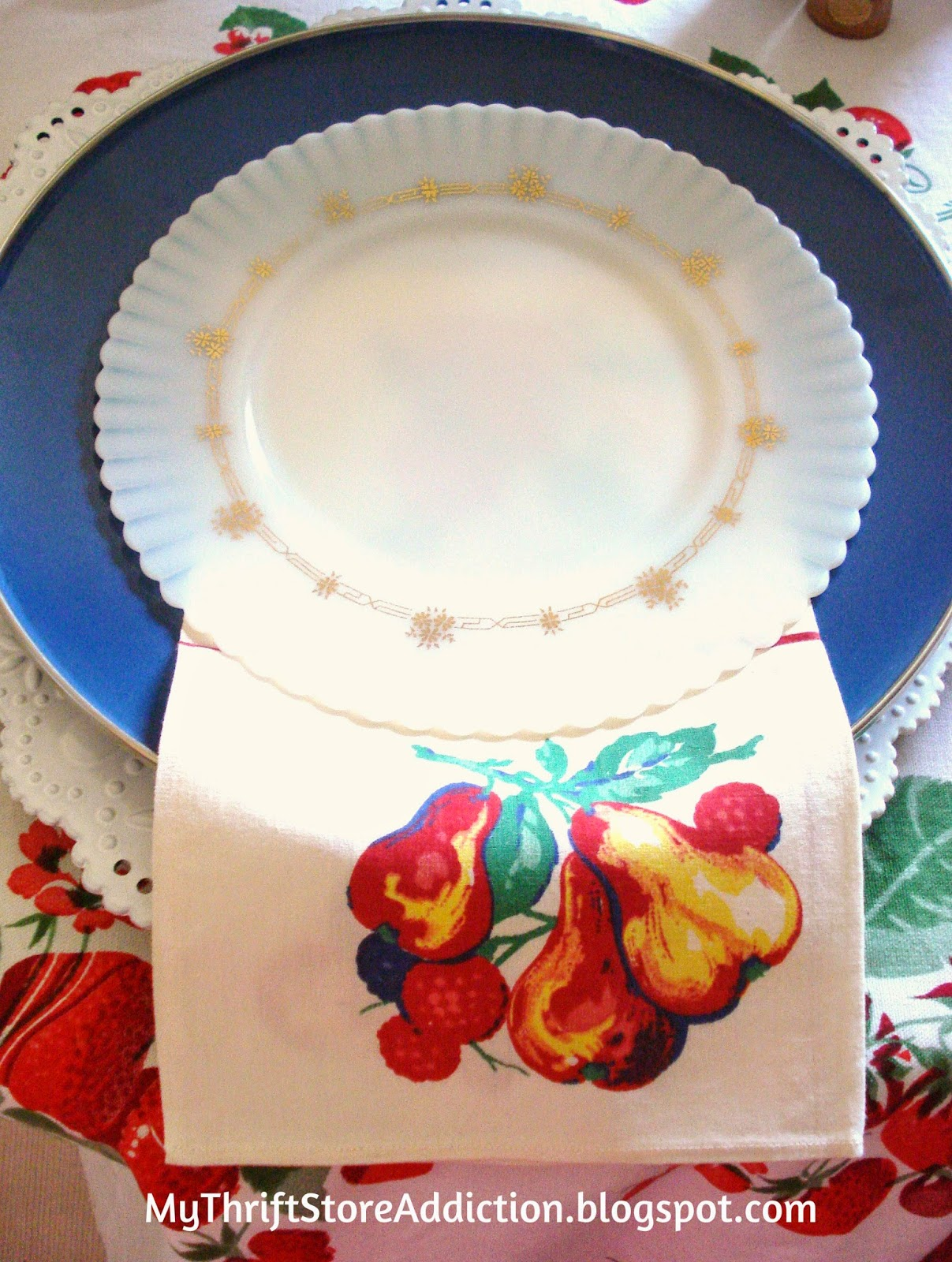 Milk glass and enamelware summer tablescape