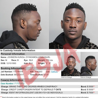 Singer Dammykrane arrested for grand theft, credit card fraud and identity fraudin Miami