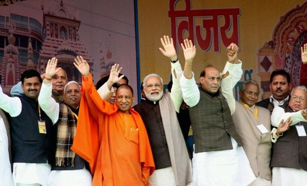 Adityanath with  Narendra Modi and Rajnath Singh