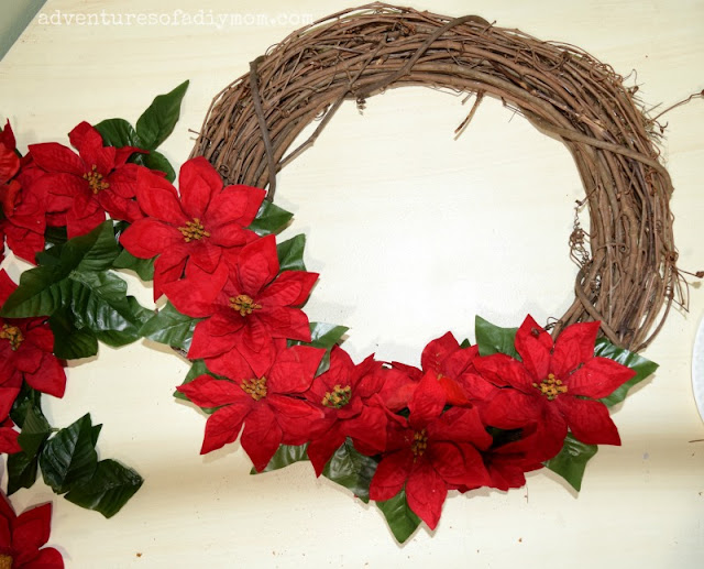 assembling poinsettia wreath