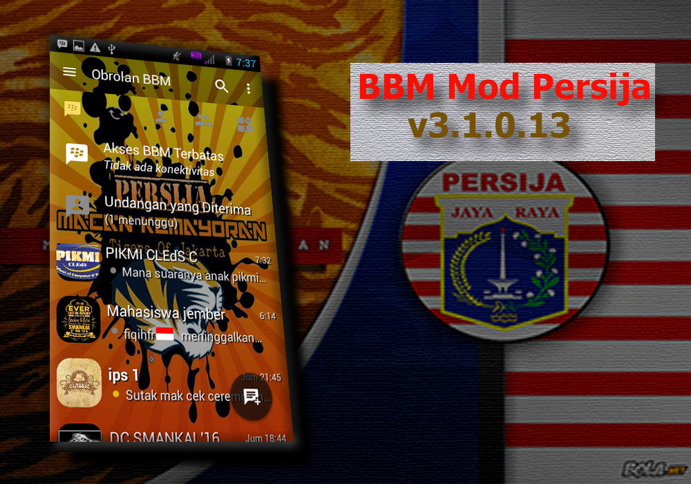 BBM Mod Tema Persija Apk v3.1.0.13 Unlimited Money Cheat