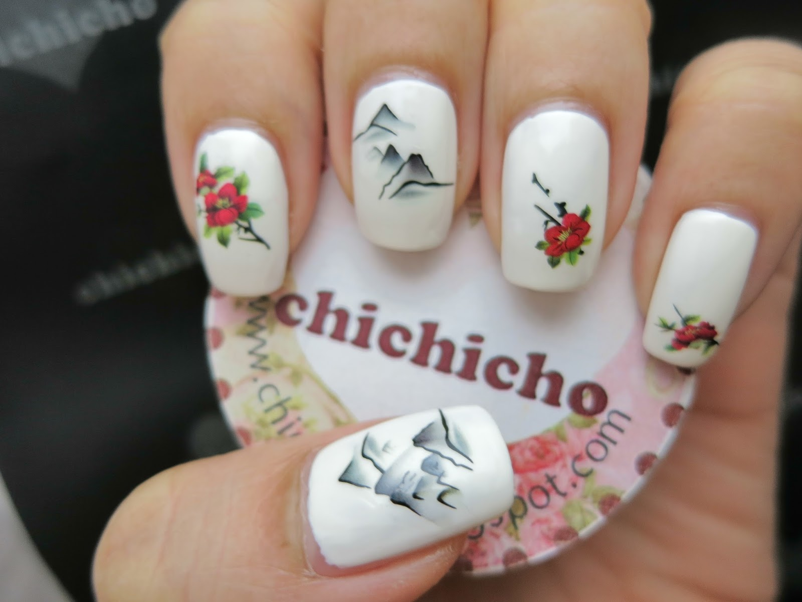 Flowers And Mountains Chinese Painting Water Decal Nail Art Chichicho