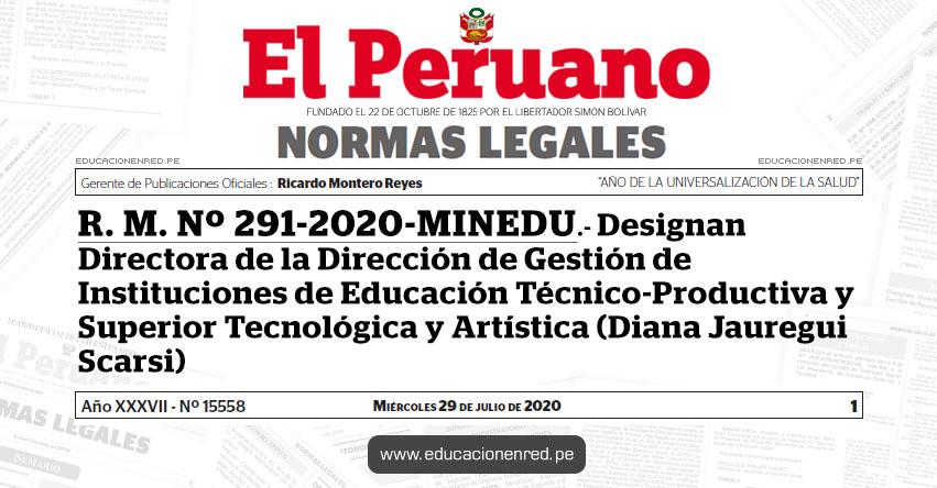 R. M. Nº 291-2020-MINEDU.- Designan Directora de la Dirección de Gestión de Instituciones de Educación Técnico-Productiva y Superior Tecnológica y Artística (Diana Jauregui Scarsi)
