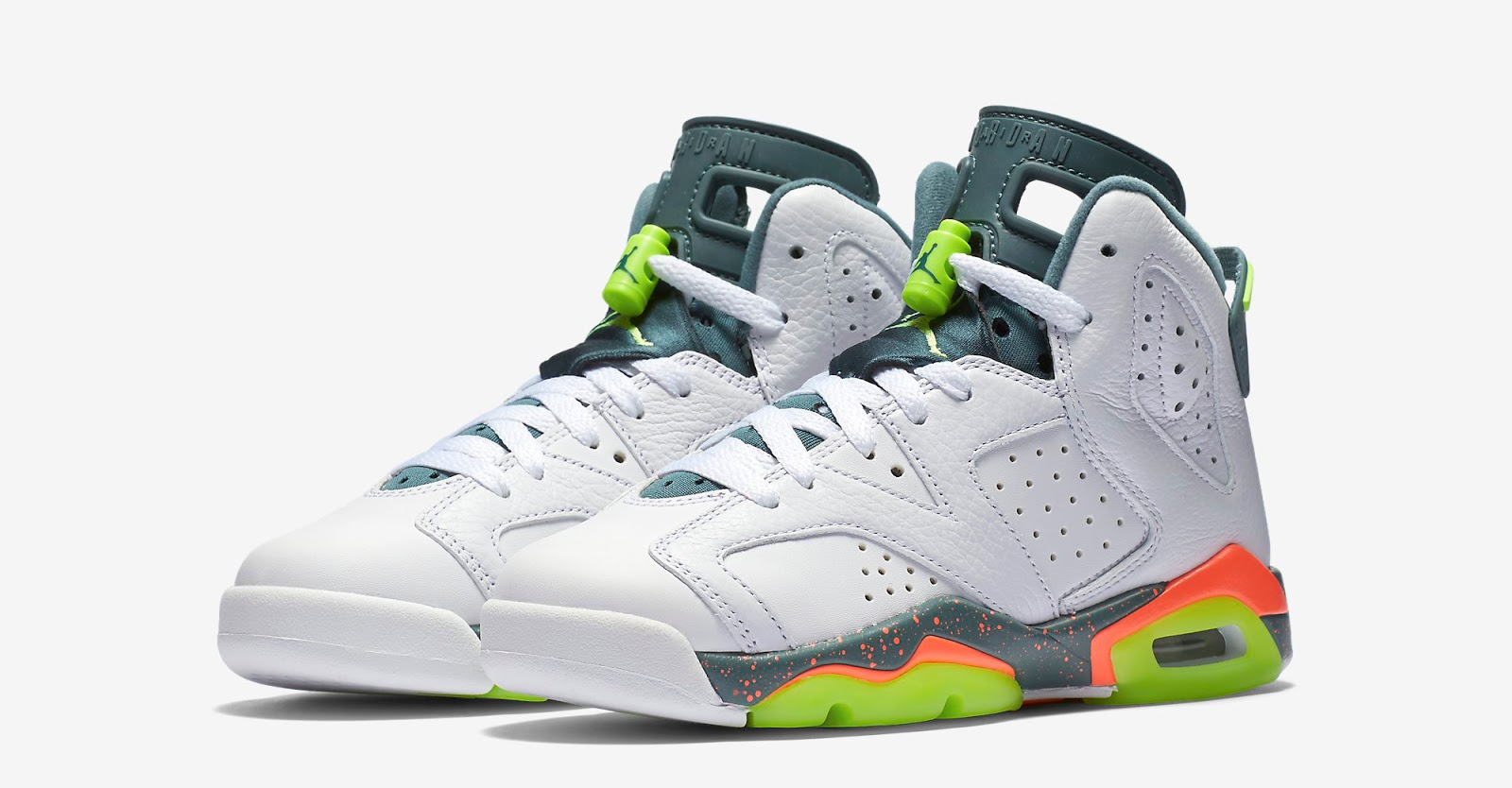 New Air Jordan 6 GS White Black Green Shoes