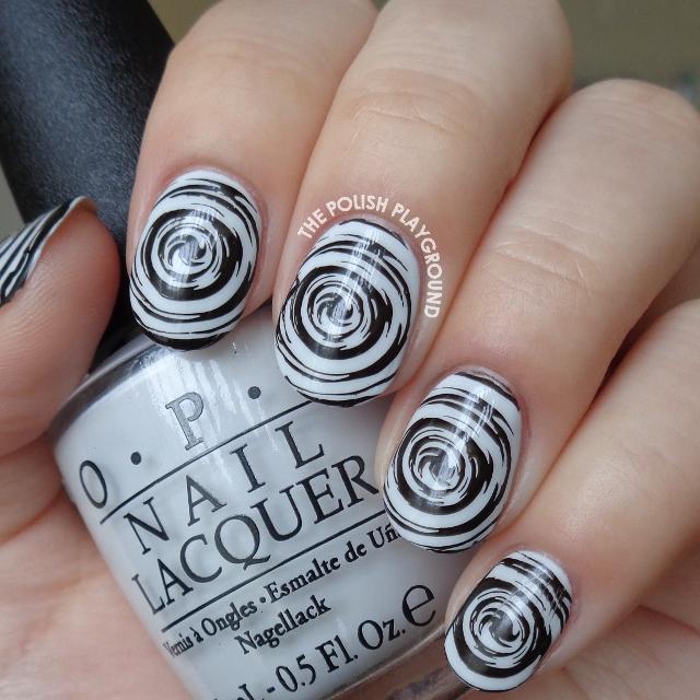 Monochrome Radioactive Swirls Stamping Nail Art