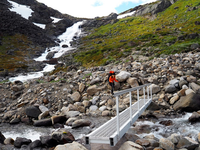 Jezero, přechod, most, trek, příroda, Jotunheimen, Norsko