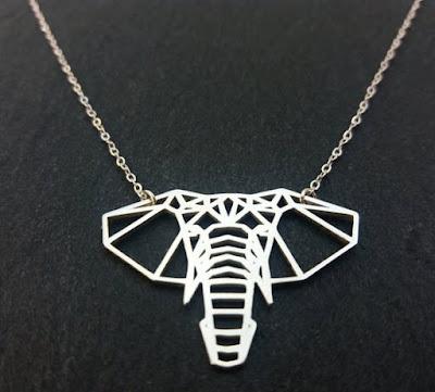 Collar de plata de ley 925 cabeza de elefante