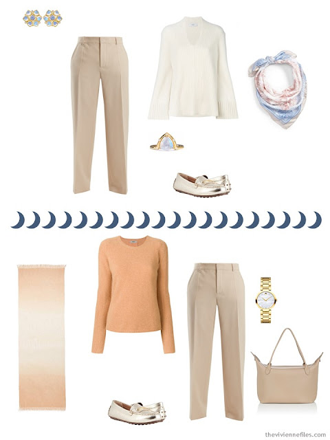 2 ways to wear beige pants from a Tote Bag Travel capsule wardrobe