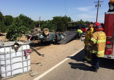 tulare county big rig crash pickup truck avenue 237 north spruce road lindsay