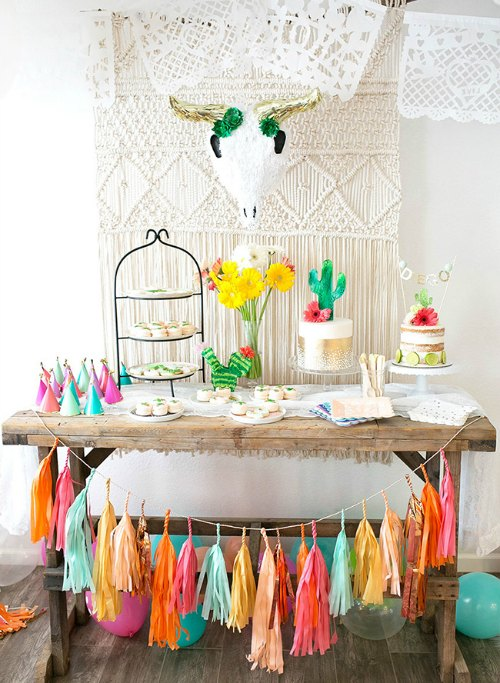 fiesta birthday party, cactus, fringe banner