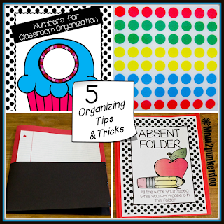 5 great organization tips to start the new school year off right! Nothing fancy just simple tips plus a fun freebie!