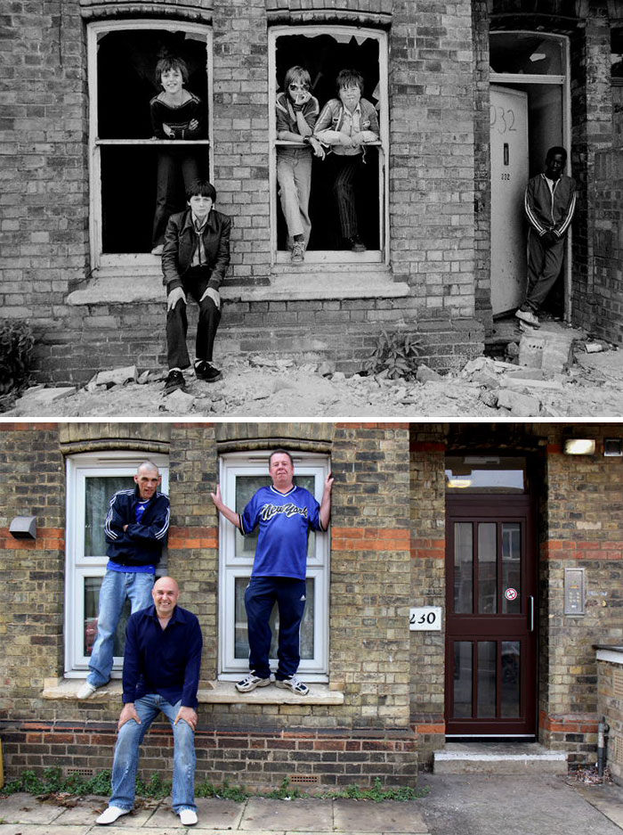 Photographer Recaptures Old Pictures Creating A Beautiful Reunion Of People He Photographed Decades Ago - Five Boys (80's And 2011)