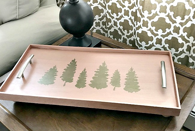 DIY Rustic Christmas Rose Gold Serving Tray. Homeroad.net