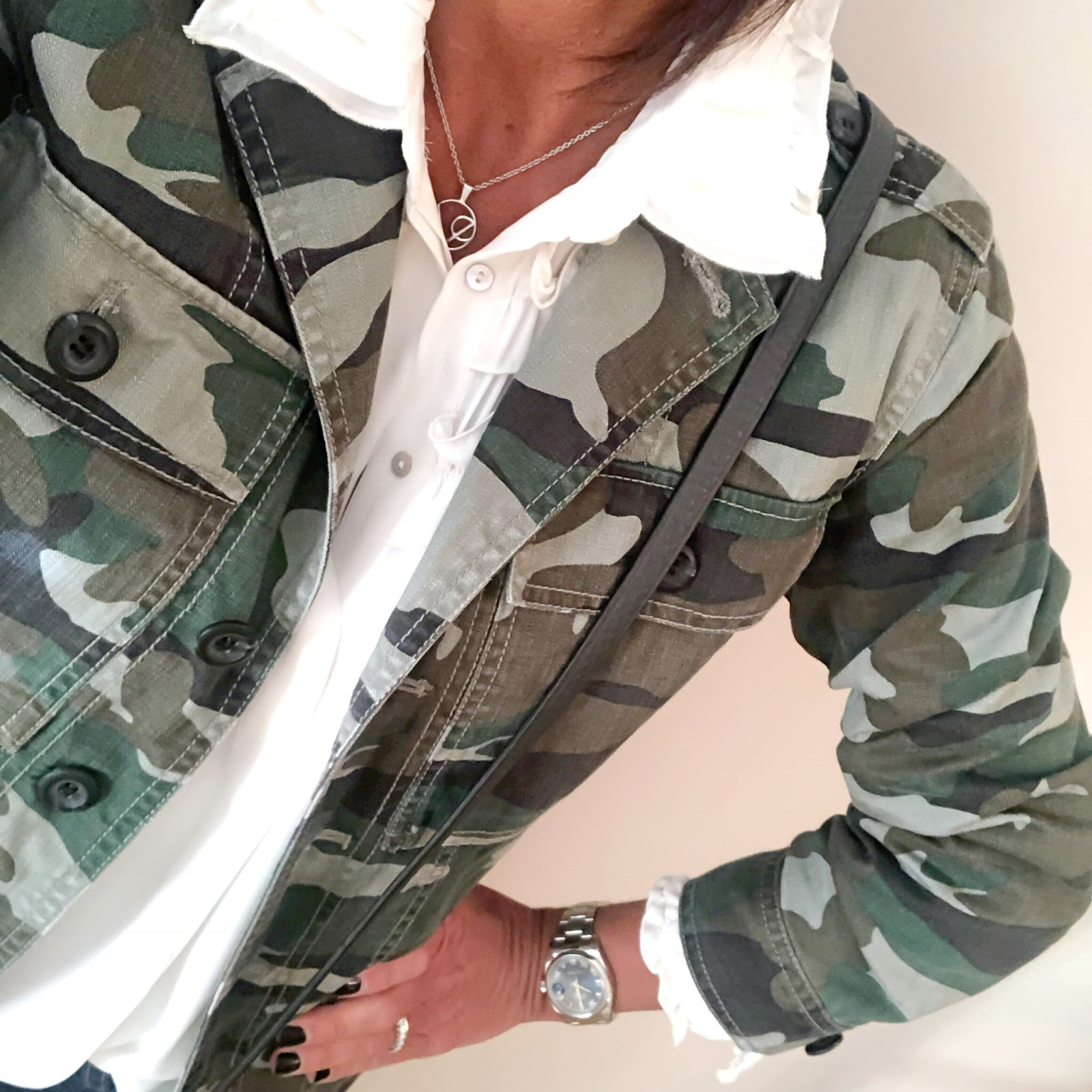 my midlife fashion, village england misterton chain pendant necklace, zara frill detail blouse, j crew camouflage utility shirt jacket, hush turn up boyfriend jeans, j crew leather across body bag, j crew metallic block heel scallop edge shoe