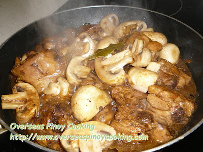 Chicken Mushroom Adobo - Cooking Procedure