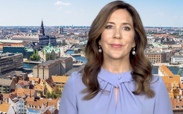 Crown Princess Mary wore Victoria Beckham flare-sleeve knot blouse. Copenhagen will host the international event Copenhagen 2021