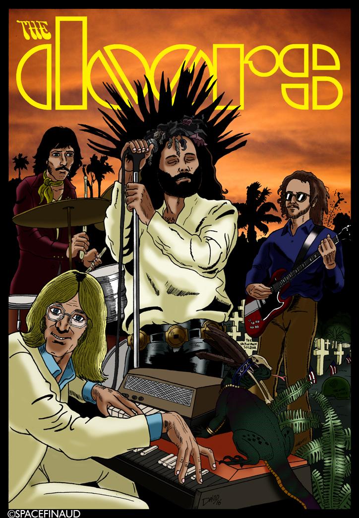 """Aujourd'hui, Je profite de l'anniversaire de Jim Morrison, il aurait fêté ses 73 ans, pour publier mon dernier travail sur les Doors. J'avais déjà dessiné plusieurs fois Jim Morrison mais curieusement pas une seule fois sur le groupe au complet. C'est pour cela que je tiens à me rattraper. Cette illustration représente l'image que j'ai sur les Doors avec quelques thèmes clés. Le côté sombre, le cimetière militaire américain rappelant la guerre du Vietnam d'où la chanson """"The Unknown Soldier"""" ou """"The End"""", le Roi Lézard posé sur le clavier du regretté Ray manzarek, avec sa coiffure de Shaman, Jim en Jésus Christ. Et sans oublier Robbie Krieger et John Densmore."""