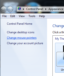 Posisi Change mouse pointer di komputer