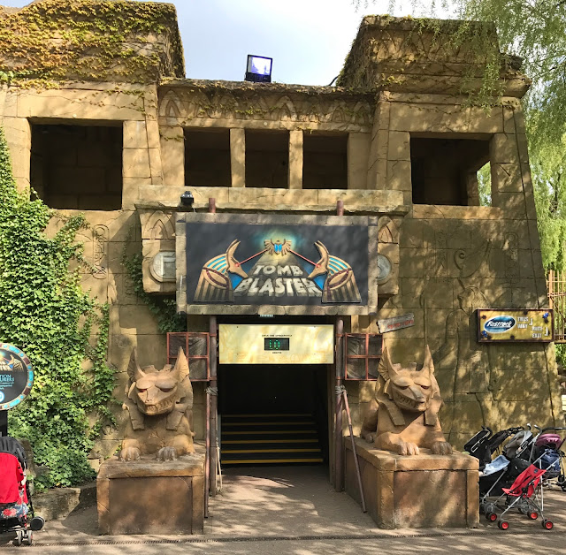 View of the Front of the Tomb Blaster ride designed to look like the entrance to a tomb