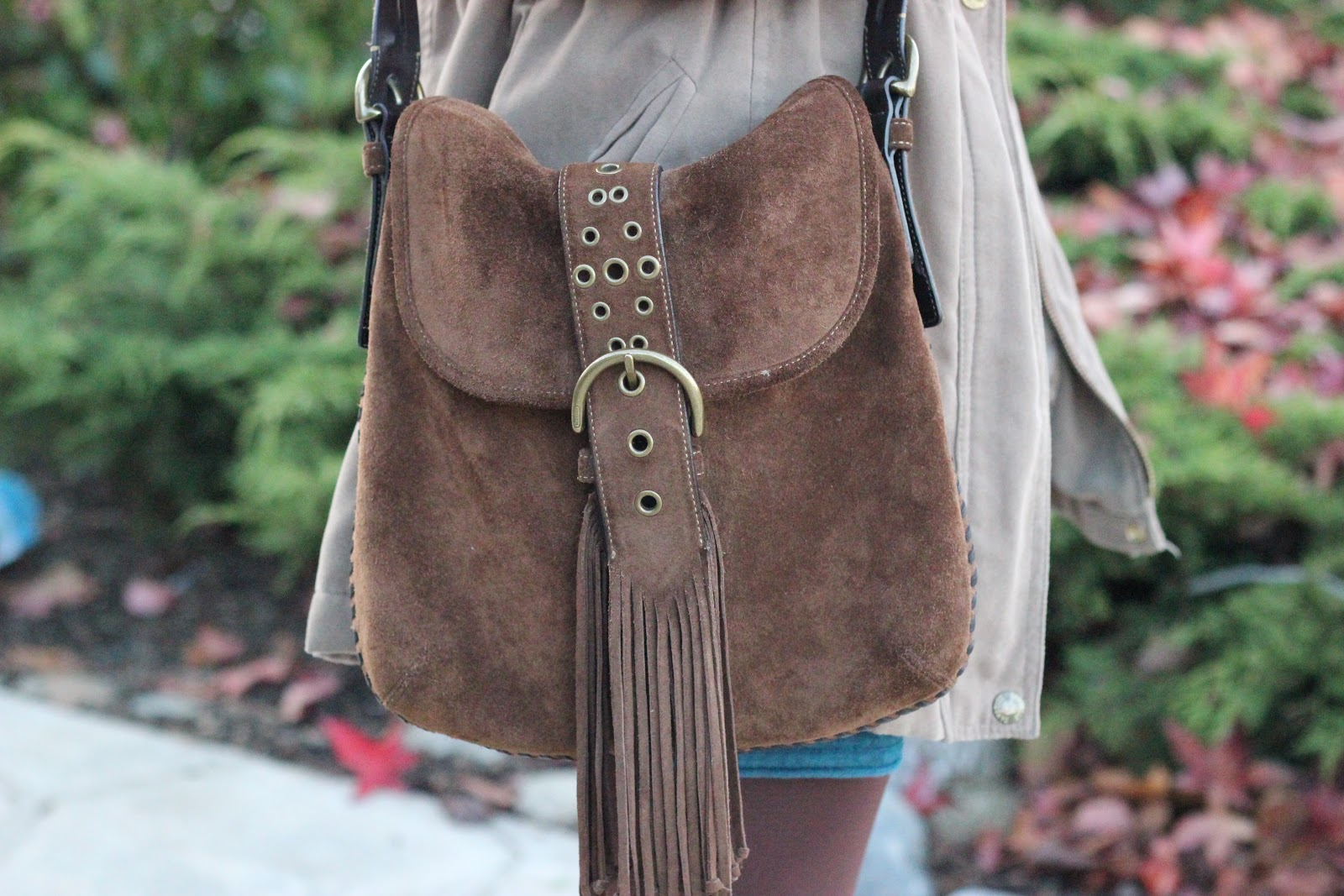Brown Fringe Coach Cross Body