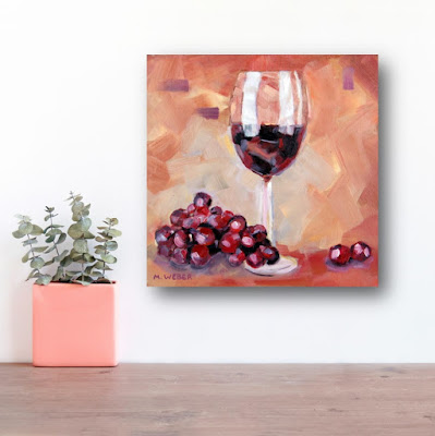 Red Wine oil painting by Merrill Weber as part of the series of Life's Small Pleasures