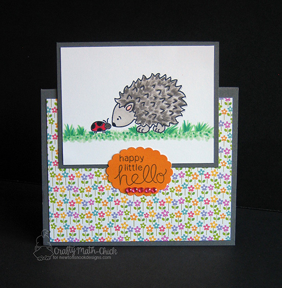 Happy Little Hello Hedgehog Easel Card by Crafty Math-Chick | Hedgehog Hollow Stamp set by Newton's Nook Designs #newtonsnook #hedgehog